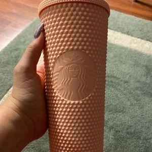 Matte pink studded Starbucks cup